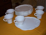 Milk Glass Snack Sets Antiques